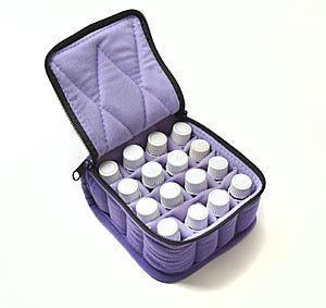 16-Bottle Essential Oil Carrying Cases hold 5ml, 10ml and 15ml bottles - Deep Purple with Lavender interior - 4 high
