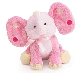 Pink Elephant Plush Rattle with Polka Dot Ears