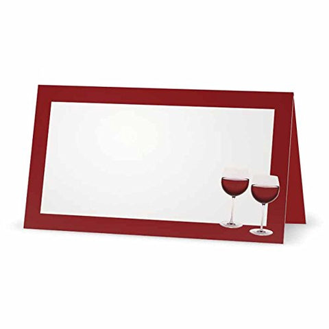 Wine Place Cards - TENT STYLE - - White Blank Front Solid Color Border - Placement Table Name Dinner Seating Stationery Party Supplies - Occasion Event Holiday (BURGUNDY)