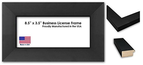8.5 x 3.5 Inch Professional Business License Frame - Extra Wide Black Wood