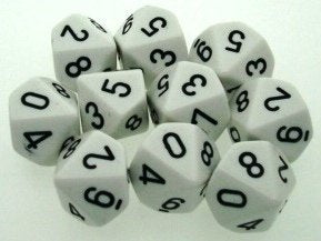Chessex Dice Sets: Opaque White with Black - Ten Sided Die d10 Set (10)