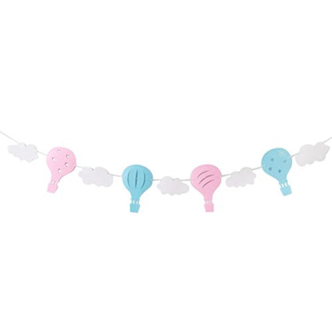 LUOEM Baby Shower Party Decorations Hot Air Balloon Cloud Garland Banner Photo Prop Kids Room Decorations