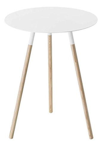 Wood & Steel Mid-Century Modern Round Side Table in White Finish
