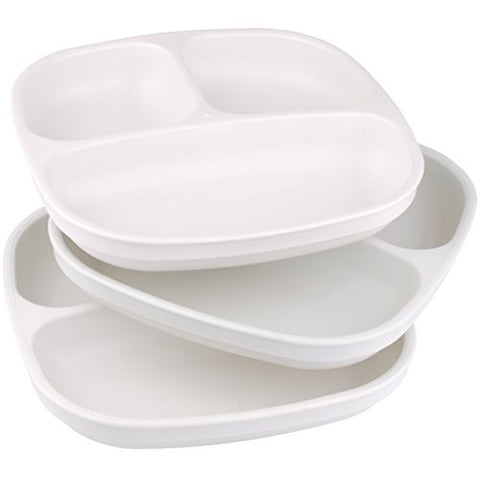 Re-Play Made In USA 3pk Divided Plates with Deep Sides for Easy Baby, Toddler - White
