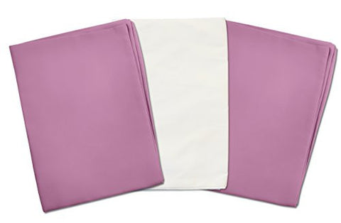 3 Toddler Pillowcases - 2 Purple Lavender and 1 White - Envelope Style - For Pillows Sized 13x18 - 100% Cotton With Soft Sateen Weave - Machine Washable - ZadisonJaxx Bellacolour Collection -
