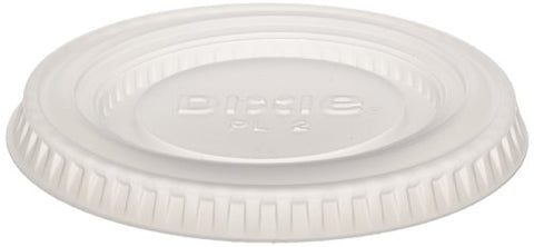 Dixie PL2 Plastic Lid Fits 1.5 oz. and 2.5 oz. Dixie Plastic Souffle Cups, Translucent (24 Sleeves of 100)