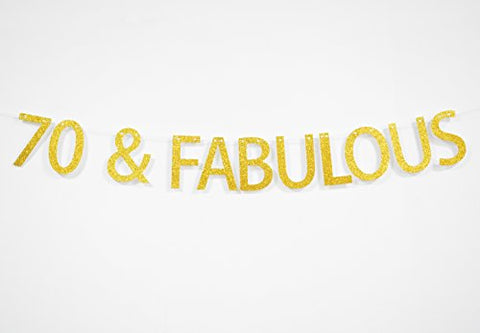 Firefairy 70 and Fabulous Gold Glitter Hanging Sign Banner- 60th Birthday Anniversary Party Photo Props Ideas and Decorations