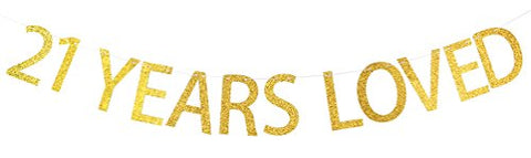 INNORU 21 Years Loved Banner Gold Glitter Sign - 21st Birthday Party Decorations