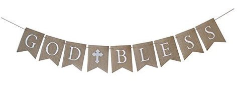Swaxbees Large Gray/Silver Communion Party Banner, Baptism Decoration. God Bless Banner