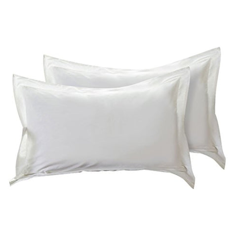 uxcell Pillow Shams Oxford Pillow Cases Egyptian Cotton 300 Thread Count Solid/Plain Pattern White 20 x 26 Inch Set of 2