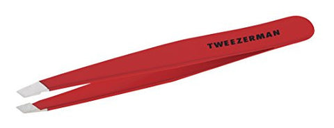 Tweezerman  Stainless Steel Slant Tweezer, Red