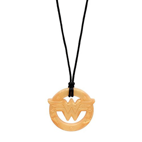 Bumkins DC Comics Silicone Teething Pendant Necklace, Wonder Woman Gold