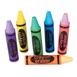 Set Of 36-Crayon Shaped Erasers-Assorted Colors. 2.5 Inch