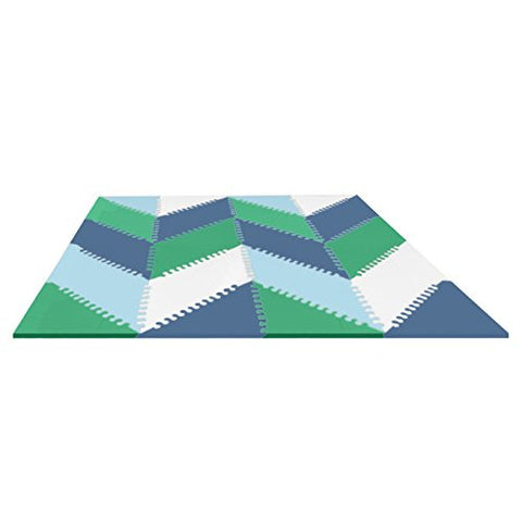 Skip Hop Geo Playspot Foam Floor Tiles, Blue/Green