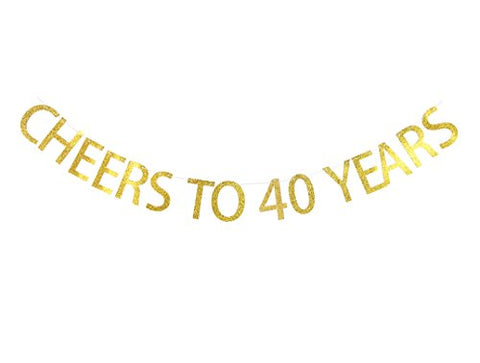 LOVELY BITON Gold Cheers to 40 Years Banner Decoration Kit Themed Party Banner for Birthday Wedding Showers Photo Props Window Decor