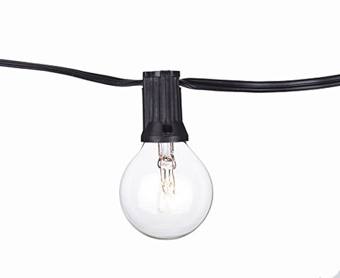 Aspen Lights C7B1110C Global String Lights 12'/11 Lights Clear Bulb Black Cord, 20 Gauge