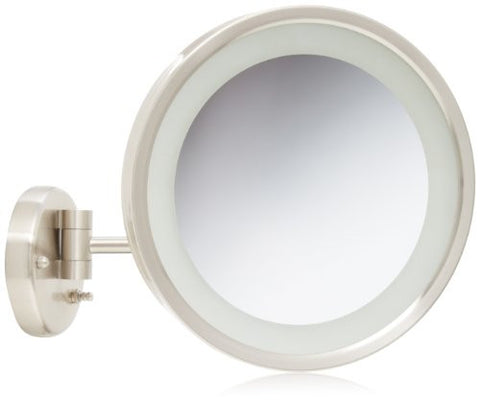 Jerdon HL1016NL 9.5-Inch LED Lighted Wall Mount Makeup Mirror with 5x Magnification, Nickel Finish