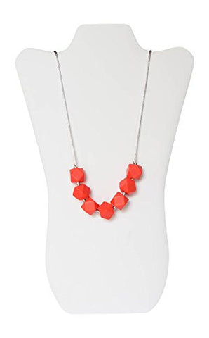Little Teether Geo Teething Necklace for Baby Nursing - Stylish Silicone Necklace for Moms, Teether for Babies. Provides Teething Pain Relief. Teething Remedy Approved by Mothers! - Bright Coral