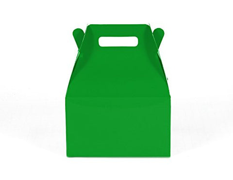 12CT (1 Dozen) Medium Biodegradable Kraft / Craft Favor Treat Gable Boxes (Medium, Green)