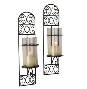 Danya B Set of Two Metal Filigree Wall Sconces with Clear Glass Inserts