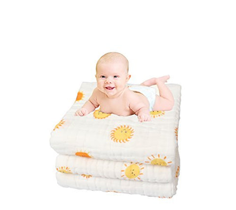 QzxBright Muslin Cotton Baby Bath Towels Lovely sunflower Print Also Warm for Baby Blanket (sunflower)