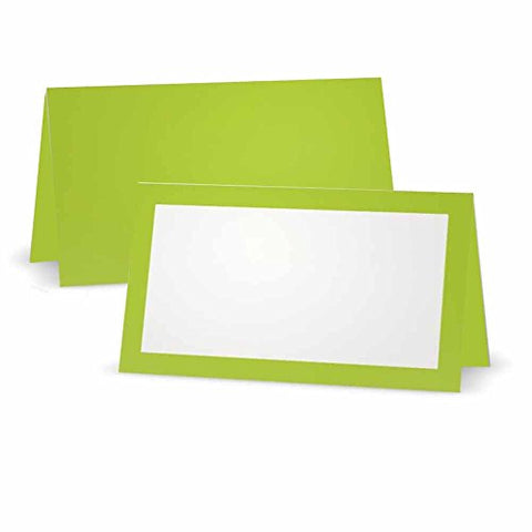 Lime Green Place Cards - Tent or Flat - 10 or - White Blank Front with Solid Color Border - Placement Table Name Seating Stationery Party Supplies - Occasion or Dinner Event - (10, Tent Style)