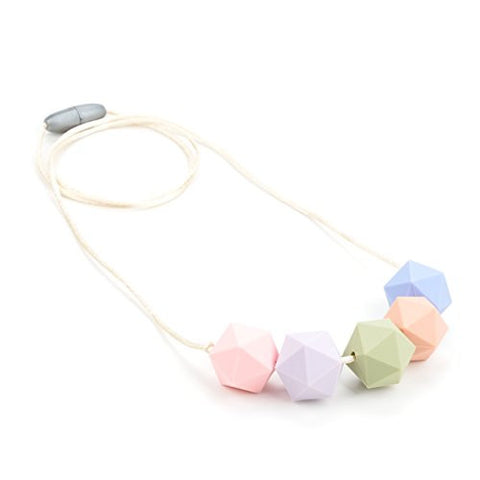 Lofca Silicone Teething Necklace for Mom to Wear-Great Baby Teether Toys-BPA Free Chew Beads-Breastfeeding Nursing Necklace Soothes Aching Gums-'Page'(Rose Quartz)