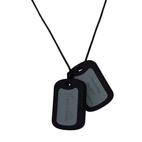 Munchables Silicone Chewelry - Sensory Chew Necklaces (Black Dog Tags)