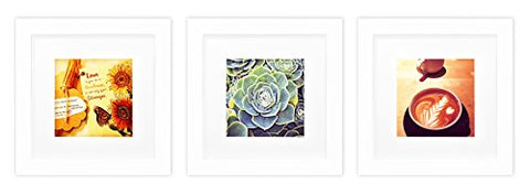 Golden State Art, Smartphone Instagram Frames Collection, Set of 3, 6x6-inch Square Photo Wood Frames with White Photo Mat & Real Glass for 4x4 photo, White
