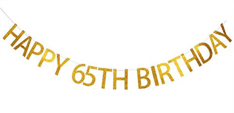 INNORU Happy 65th Birthday Banner Gold Glitter Letters Hang Bunting - 65h Birthday Party Decorations Supplies