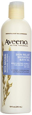 Aveeno Active Naturals Skin Relief Shower & Bath Oil with Natural Soothing Oatmeal for Relief of Itchy, Dry Skin, 10-Ounce Bottles