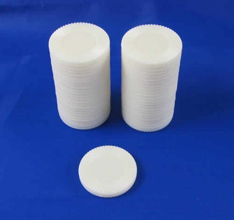 Set of 50 7/8 Easy Stacking Plastic Mini Playing Poker Chips - White