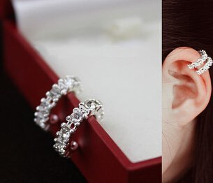 2PCS Special designed with Crystal Gems Cartilage silver Ear Cuff Earring stud