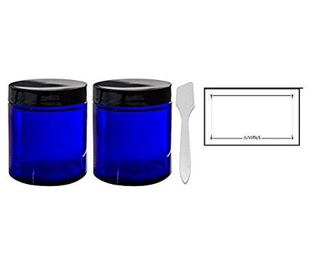Cobalt Blue Glass Straight Sided Jars - 4 oz / 120​​ ml (​2 pack) + Spatulas and Labels
