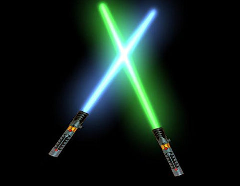 2-in-1 LED Light Up Laser Sword FX Double Bladed Dual Sabers