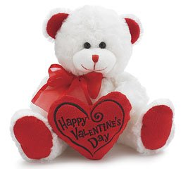 Happy Valentine's Day Bear 8 Animal Plush- White with Red Message Pillow