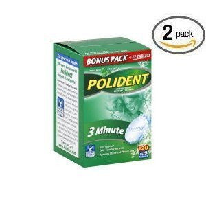 Polident Antibacterial 3 Minute Denture Cleanser 120 Tablets Per Box