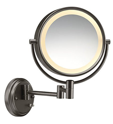 Conair Round Shaped Double-Sided Wall Mount Lighted Makeup Mirror; 1x/8x magnification; Oiled Bronze Finish