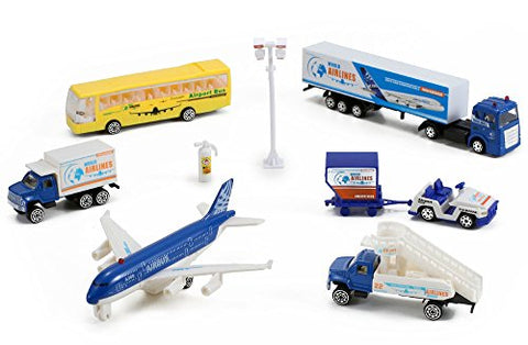 Airlines International Airplane Diecast Airport Playset, 13-piece (Assorted Styles)