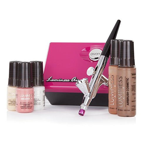 Luminess Air Pink & Black Legend Airbrush System with 5 Piece Deluxe Airbrush Foundation & Cosmetic Starter Kit, Tan