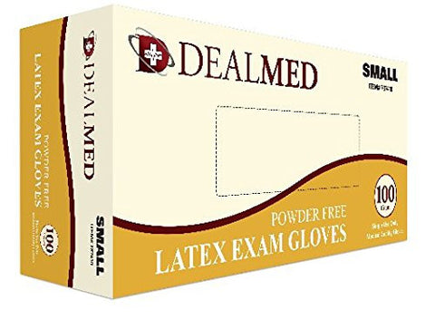 Disposable Latex Exam Powder Free Gloves, 100 Count, Size Small