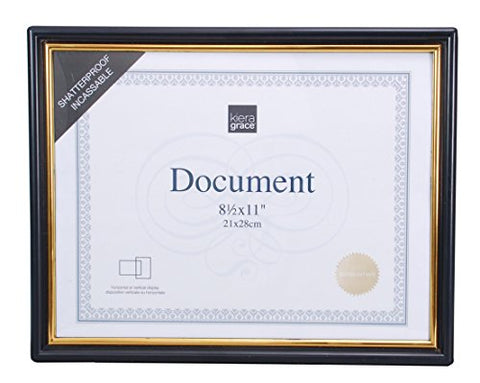 Kiera Grace Accent Document Frame , 8.5 x 11 , Black/Gold