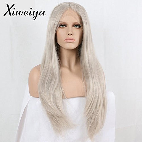 long hair Silver Platinum Blonde Lace Front Lace Wigs Synthetic Ash Blonde Straight Heat Resistant Fiber Wigs Middle Parting Wig
