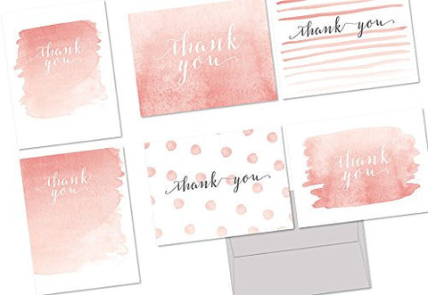 Whimsical Watercolor Thank You - 36 Note Cards - 6 Designs - Blank Cards - Gray Envelopes Included