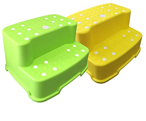 Tenby Living Jumbo Step Stool with Removable Non-Slip Caps and Rubber Grips, Green/Yellow, Extra-Wide/Extra-Tall, 2 Piece
