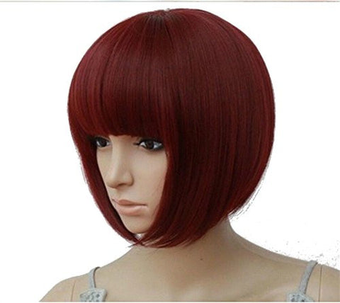 ASX Design Full Fringe Short Bob Hairstyle Cosplay Full Wig Red Color