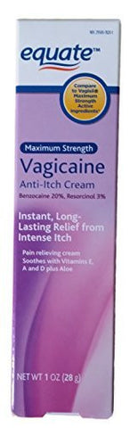 Maximum Strentgth Vagicaine Anti-Itch Cream, 1oz, By Equate, Compare to Vagisil Maximum Strength