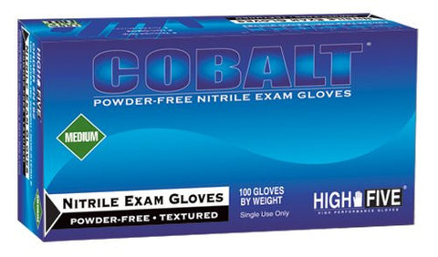High Five Cobalt Nitrile Exam Gloves, Medium, 100 Gloves