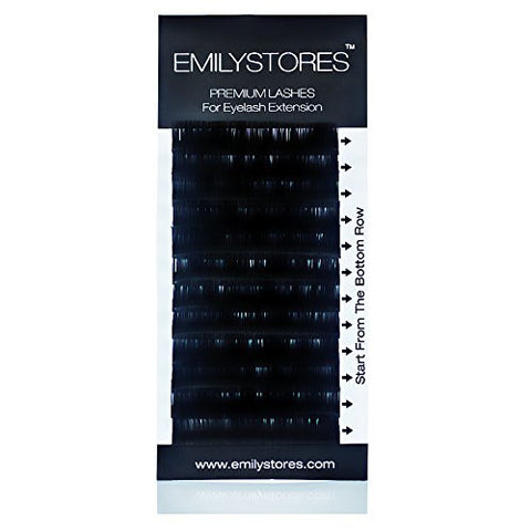EMILYSTORES Eyelash Extensions 0.20mm Thickness D Curl Length 9mm Silk Mink Fake Eye Lashes In One Tray