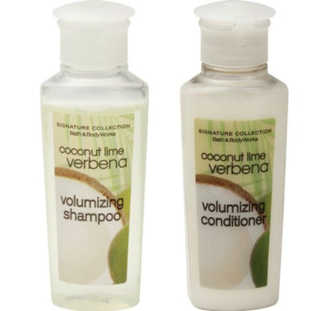 Bath & Body Works Volumizing Coconut Lime Verbena Shampoo & Conditioner. Lot of 24 (12 of each) 0.75oz Bottles. Total of 18oz.
